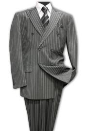 Classic Double Breasted Mens Suit with Pinstripe Stripe (Wholesale price $95