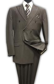 Brown Double Breasted Mens Suit With Pinstripe  100% Wool Stripe