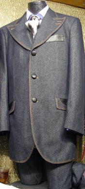 SKU#UZ8389 Mens 3 Piece Denim Cotton Fabric Suit Blue