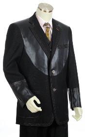 SKU#LZ2033 Mens Black 2 Button 3pc Fashion Denim Cotton Fabric Trimmed Two Tone Blazer/Suit/Tuxedo