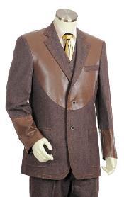 SKU#YM5002 Mens Brown 2 Button 3pc Fashion Denim Cotton Fabric Trimmed Two Tone Blazer/Suit/Tuxedo