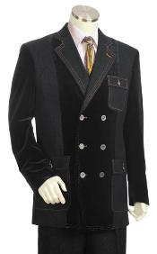 SKU#SX5732 Mens Double Breasted Fashion Denim Cotton Fabric Trimmed Two Tone Blazer/Suit/Tuxedo Black With Grey ~ Gray