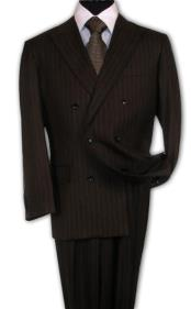Suit With Smooth Stripe ~ Pinstripe Side Vent Pleated Pants