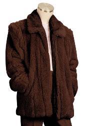 SKU#ER5556 Mens Faux Fur 3/4 Length Coat Brown