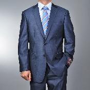 SKU#SA1144 Men's 2 Button Metallic Shiny Ocean Blue Slim Suit