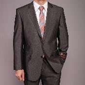 SKU#FR7412 Men's Dark Gray Shiny 2-button Suit