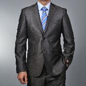 SKU#ES8599 Men's European Skinny Notch Lapel No Pleated Pants Slim Fit Metallic Grey 2-button Suit