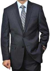 Black On Black Tonal Pinstripe 2-button Shadow Stripe Regular Fit Flat Front Pants Cheap Priced Business Suits