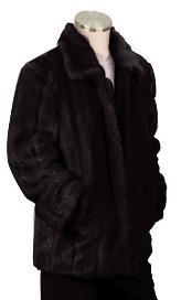 SKU#NK8392 Mens Stylish Faux Fur 3/4 Length Coat Black