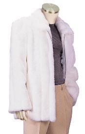 SKU#SC8291 Mens Stylish Faux Fur Coat White