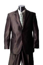SKU#GY3478 Shiny 2 Button Brown Sharkskin Mens Suit