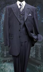 SKU#BW6217 Mens 3 Piece Solid Fashion Suit With A Vest Navy