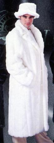 SKU#MG6100 Mens Off White Faux Mink Fur Long