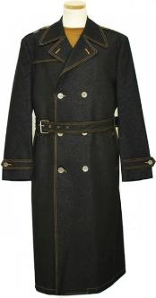 IL_8333 Mens Iridescent Denim Winter Peacoat double breasted Long Trench Coat Black