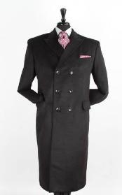 SKU#JR5980 Men's 48 Inch Winter Peacoat Long Wool Blend Double breasted Peacoat Full Length Top Coat Black