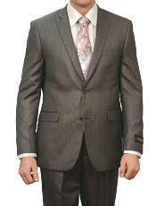 SKU#M133S000 Mens Carbon Grey Shiny Stripe ~ Pinstripe 2 Button Front Closure Suit