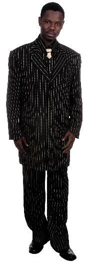 Fashionable Black Pinstripe Zoot