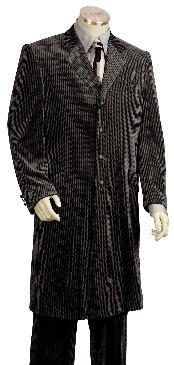 SKU#UF3467 Men's 4 Button Shiny Black Velvet Suit 45'' Long Jacket EXTRA LONG JACKET Maxi Very Long
