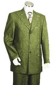 3 Piece Vested Olive