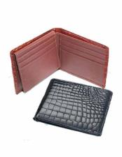 Genuine Exotic Animal Skin Ferrini Mens Crocodile Billfold Wallet