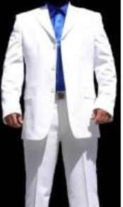 3 Button White Suit