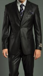 Two Button Vested Black