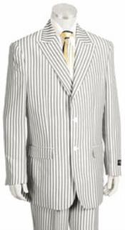 SKU#KA4465 2 Button Jacket Pleated Pants Pronounce Pinstripe seersucker suits for men