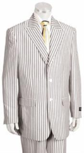 SKU#KA4489 2 Button Jacket Pleated Pants Pronounce Pinstripe seersucker suits for men