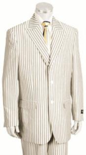 SKU#KA4456 2 Button Jacket Pleated Pants Pronounce Pinstripe seersucker suits for men