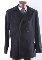 SKU#KA 9901 Men's Double Breasted Winter Peacoat Black Wool Winter Coat