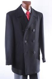 SKU#KA 9087 Men's Double Breasted Luxury Wool Peacoat