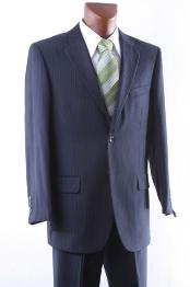 2 Button Navy Pinstripe