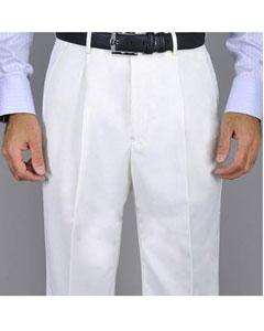 SKU#KA8880 Men's White Single Pleat Pants
