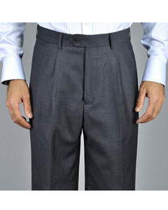 Charcoal Single Pleat Pants