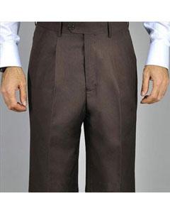 Brown Single Pleat Pants