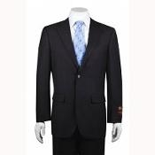 2-button Solid Charcoal Suit