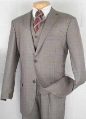 2-Button Vested Glen Plaid