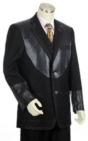 Mens Black 2 Button 3pc Fashion Denim Cotton Fabric Trimmed Two Tone Blazer/Suit/Tuxedo