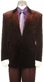 Fashion Velvet Suit Brown