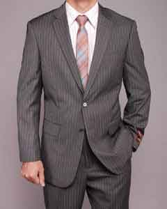 Grey Striped 2-button Suit