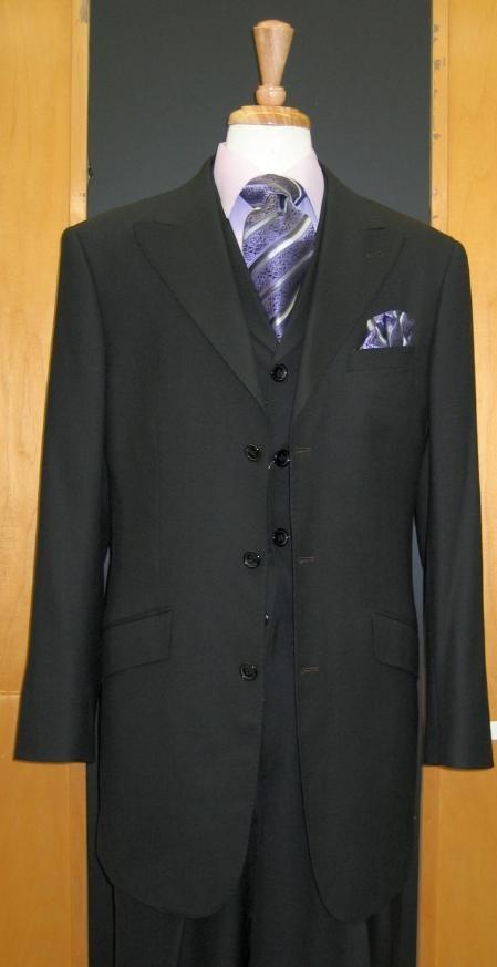 SKU#FR767 3 Btn Peak Lapel Wool Feel Touch Suit Wide leg Pants Black/Charcoal/Gray/Brown/Camel $149