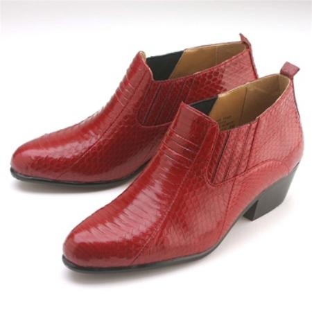 SKU#15064  Pointy toe demi-boot in genuine snake skin with side gore. Durable man-made sole with pit $119