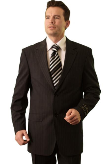 SKU#RM28882 Trueran-Viscose Mens Black Pinstripe Classic cheap discounted Suit