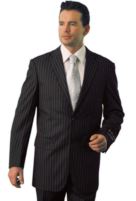 SKU#AZ9097 Trueran-Viscose Mens Classic Pinstripe ~ Stripe Pattern affordable suit online sale Grey
