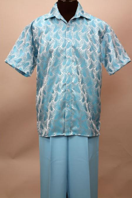 SKU#NB9011 Turquoise 2 Pc Shirt and Pants Set $99