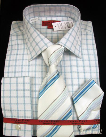 SKU#KA2938 Turquoise Shirt Tie and Hankie Set $65