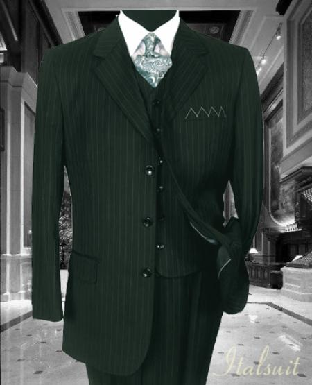 SKU#GH4567 Unique 3PC 3 Button Charcoal Grey Pinstripe Vested Mens Suit With Flat Front Pants $199