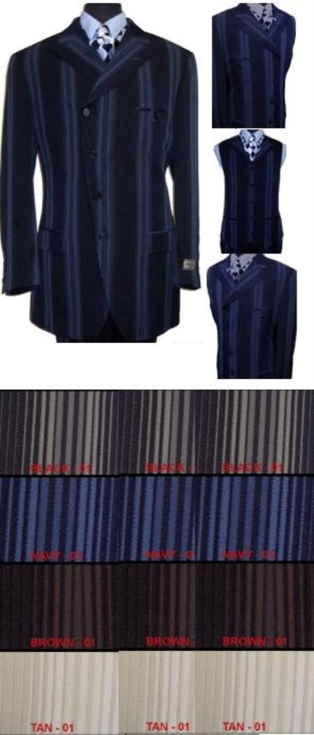 Style#MUmf049 unique Style Mens Fashion 3 Piece Suit with Slanted Jacket