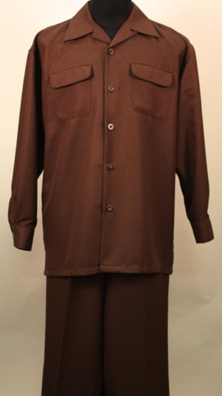 SKU#EX1829 Verona- Brown 2 Pc Long Sleeve Shirt and Pants Set $115