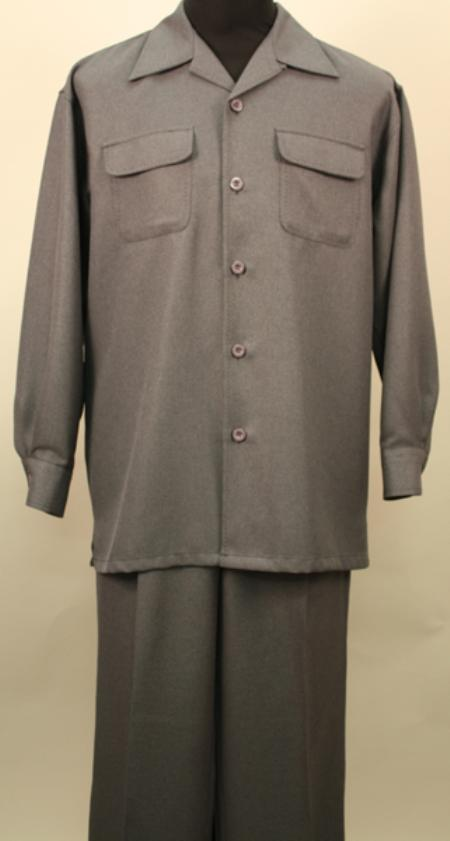 SKU#WX7820 Verona- Charcoal 2 Pc Long Sleeve Shirt and Pants Set $115